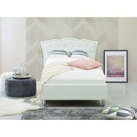 Bett Kunstleder weiß mit Bettkasten hochklappbar 90 x 200 cm METZ