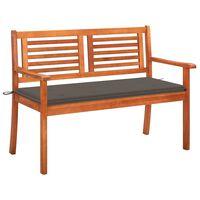 vidaXL 2-Sitzer-Gartenbank mit Auflage 120 cm Massivholz Eukalyptus