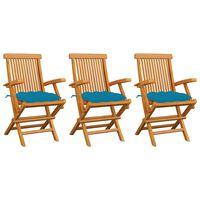 vidaXL Gartenstühle mit Hellblauen Kissen 3 Stk. Massivholz Teak