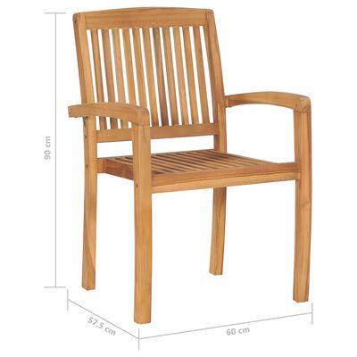 vidaXL Stapelbare Gartenstühle mit Kissen 6 Stk. Massivholz Teak, Cream
