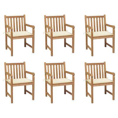vidaXL Gartenstühle 6 Stk. mit Creme Kissen Massivholz Teak