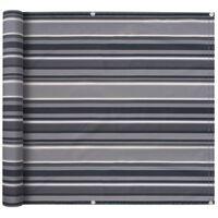 vidaXL Balkonsichtschutz Oxford-Gewebe 75×600 cm Gestreift Grau