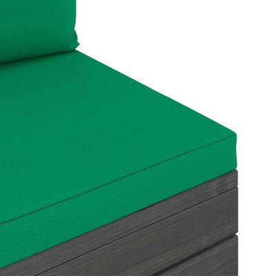 vidaXL 6-tlg. Garten-Sofagarnitur aus Paletten mit Kissen Kiefernholz, Green