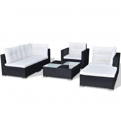 vidaXL 6-tlg. Garten-Lounge-Set mit Auflagen Poly Rattan Schwarz, Schwarz