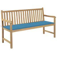 vidaXL Gartenbank mit Blauer Auflage 150 cm Massivholz Teak