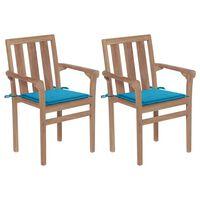 vidaXL Gartenstühle 2 Stk. mit Blauen Kissen Teak Massivholz