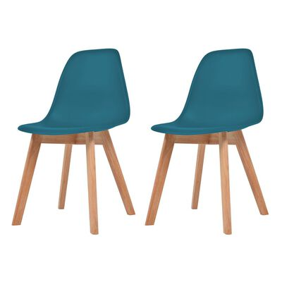vidaXL Esszimmerstühle 2 Stk. Türkis Kunststoff