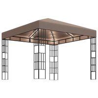 vidaXL Pavillon mit LED-Lichterkette 3x3 m Taupe