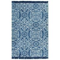 vidaXL Kelim-Teppich Baumwolle 120x180 cm mit Muster Blau