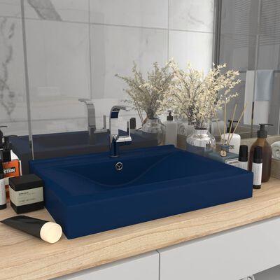 vidaXL Luxus-Waschbecken mit Hahnloch Matt Dunkelblau 60x46cm Keramik