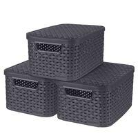 Curver Aufbewahrungsboxen mit Deckel 3 Stk. Style S 6L Anthrazit