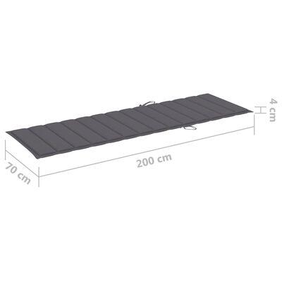 vidaXL Garten-Sonnenliege mit Tisch und Auflage Kiefer Imprägniert, Anthracite