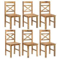 vidaXL Esszimmerstühle 6 Stk. Massives Mangoholz