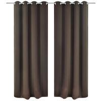 Verdunkelungs-Vorhänge mit Metallringen 135 x 245 cm Braun blackout