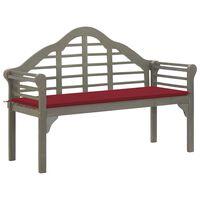 vidaXL Queen-Gartenbank mit Auflage 135 cm Massivholz Akazie Grau
