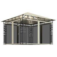 vidaXL Pavillon mit Moskitonetz und Lichterketten 3x3x2,73 m Creme