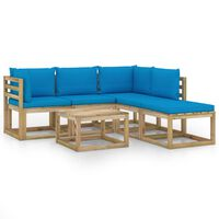 vidaXL 6-tlg. Garten-Lounge-Set mit Hellblauen Kissen