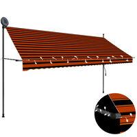 vidaXL Einziehbare Markise Handbetrieben mit LED 350 cm Orange Braun