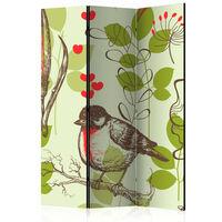 3-teiliges Paravent - Bird and lilies vintage pattern  - 135x172 cm