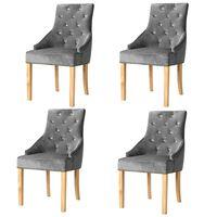 vidaXL Esszimmerstühle 4 Stk. Silbern Massivholz Eiche und Samt