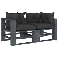 vidaXL Garten-Palettensofa 2-Sitzer mit schwarzen Kissen Holz