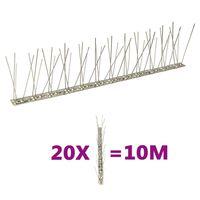 vidaXL 20-tlg. Vogelabwehr-Spikes-Set 10 m Edelstahl 2-reihig