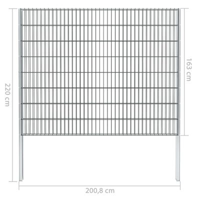 vidaXL Gabionenzaun Stahl Verzinkt 2,008x1,63 m Gesamtlänge 2 m Grau,