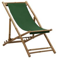 vidaXL Liegestuhl Bambus und Segeltuch Grün