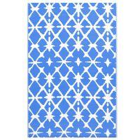 vidaXL Outdoor-Teppich Blau und Weiß 190x290 cm PP