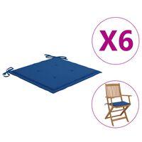 vidaXL Gartenstuhl-Sitzkissen 6 Stk. Königsblau 40x40x4 cm Stoff