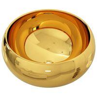 vidaXL Waschbecken 40 x 15 cm Keramik Golden