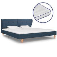 vidaXL Bett mit Memory-Schaum-Matratze Blau Stoff 180×200 cm