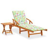 vidaXL Sonnenliege mit Tisch und Auflage Akazie Massivholz