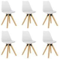 vidaXL Esszimmerstühle 6 Stk. Weiß PP und Massivholz Buche