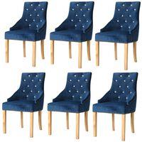 vidaXL Esszimmerstühle 6 Stk. Blau Massivholz Eiche und Samt