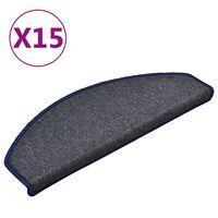 vidaXL Treppenmatten 15 Stk. Dunkelgrau und Blau 65x24x4 cm