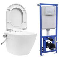 vidaXL Wand-WC ohne Spülrand mit Einbau-Spülkasten Keramik Weiß