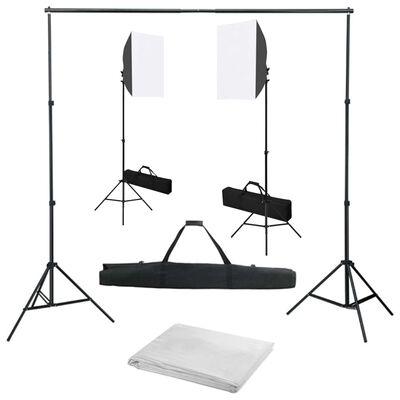 vidaXL Fotostudio-Set mit Softbox-Leuchten und Hintergrund, Weiß