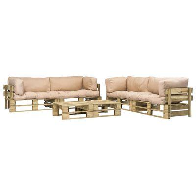 vidaXL 6-tlg. Garten-Lounge-Set Paletten Sandfarbene Auflagen Holz