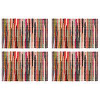 vidaXL Tischsets 4 Stk. Chindi Uni Mehrfarbig 30 x 45 cm Baumwolle