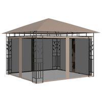 vidaXL Pavillon mit Moskitonetz 3x3x2,73 m Taupe 180 g/m²