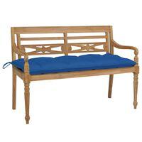 vidaXL Batavia-Gartenbank mit Blauem Kissen 120 cm Teak Massivholz