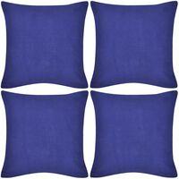 4 blaue Kissenbezüge Baumwolle 40 x 40 cm