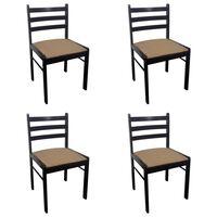 vidaXL Esszimmerstühle 4 Stk. Braun Gummibaum Massivholz und Samt
