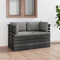 vidaXL Garten-Palettensofa 2-Sitzer mit Kissen Kiefer Massivholz