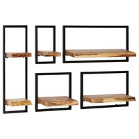 vidaXL Wandregal-Set 5-tlg. Akazienholz Massiv und Stahl