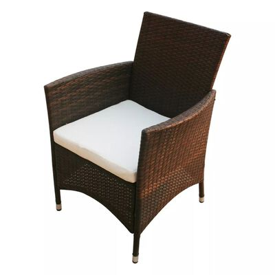 vidaXL Gartenstühle 2 Stk. Poly Rattan Braun