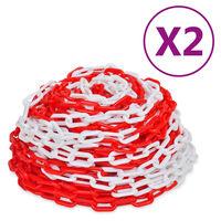 vidaXL Absperrketten 2 Stk. Rot und Weiß Kunststoff 30 m