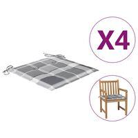 vidaXL Gartenstuhl-Sitzkissen 4 Stk. Grau Karomuster 50x50x4 cm Stoff