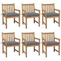 vidaXL Gartenstühle 6 Stk. mit Grauen Kissen Massivholz Teak